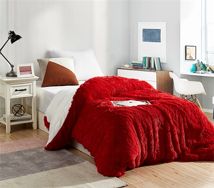 Are You Kidding? - Coma Inducer Twin XL Duvet Cover - Red/White