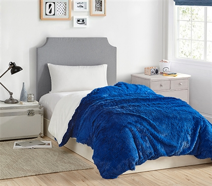 Coma Inducer Twin XL Duvet Cover - Are You Kidding? - Royal Blue/White