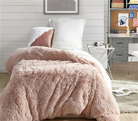 Coma Inducer Twin XL Duvet Cover - Are You Kidding? - Cloud Pink/White