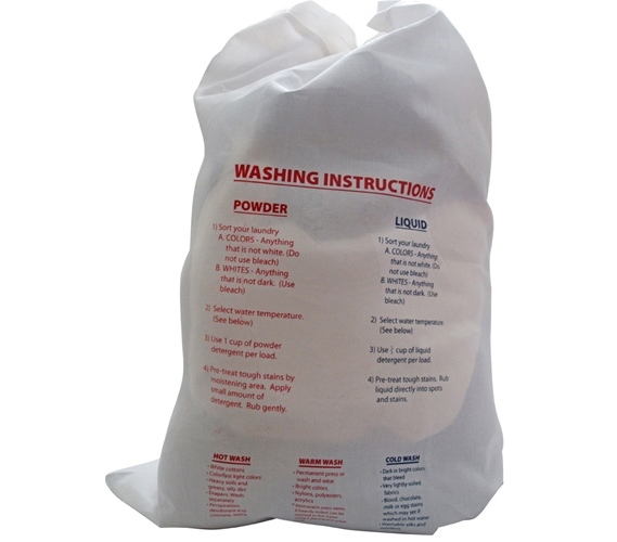 laundry bag with printed instructions - graduating high school