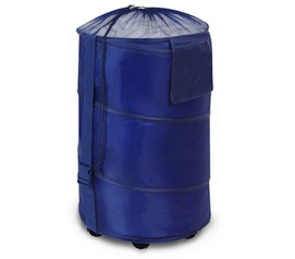 Store & Rolling Laundry Hamper - Polyester Pop-up Hamper - Navy Blue