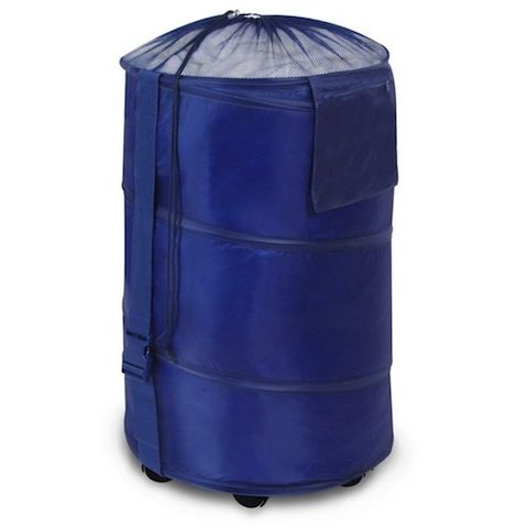 Rolling Polyester Pop Up Hamper Navy Blue Easy College