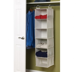 Maximize Closet Space - Cotton Blend 6 Shelf Closet Organizer - Keep Dorm Room Neat