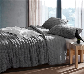 Twin XL Sized Textured Cotton Quilt in Alloy Gray