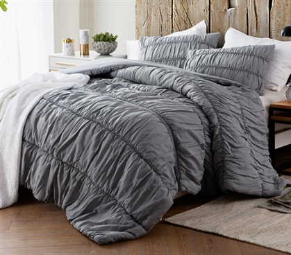 Gray College Quilt for Twin XL Sized Bed Stylish Textured Dorm Bedding Alloy Unique Cotton Lace Design
