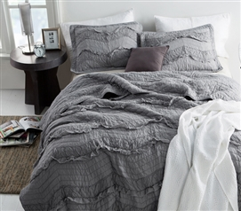 Extra Long Twin Quilt Single Tone Alloy Gray Relaxin' Chevron Ruffles Dorm Bedding