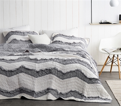 Jet Stream/Alloy Relaxin' Chevron Ruffles Quilt - Two Tone - Twin XL