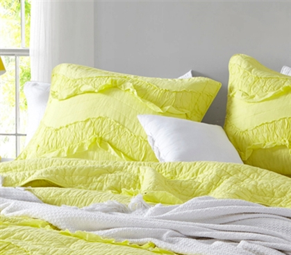 Limelight Yellow Relaxin' Chevron Ruffles - Single Tone Sham