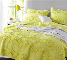 Bright Limelight Yellow Dorm Room Bedding Relaxin' Chevron Ruffles Extra Long Twin Quilt Single Tone