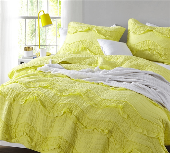 Limelight Yellow Vibrant Single Tone Twin XL Quilt Relaxin