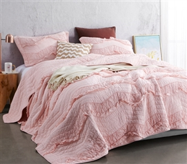 Pretty Rose Quartz Single Tone Relaxin' Chevron Ruffles Quilt Extra Long Twin Bedding