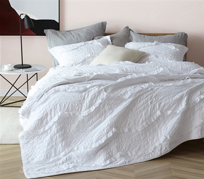 Essential College Bedding Single Tone White Relaxin' Chevron Ruffles True Twin XL Sized Quilt
