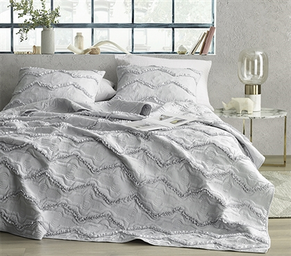 Moksha Textured Ruffles Twin XL Quilt - Eternal Gray