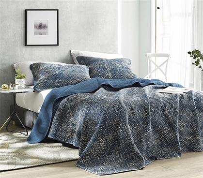 Filter Stone Washed Cotton Quilt - Nightfall Navy - Twin XL
