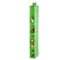 Dorm Organizing - Lime Green Hanging Shoe Organizer - 10 Shelves - Space Saver