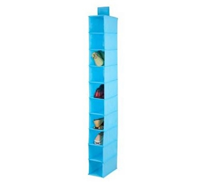 Blue Hanging Shoe Organizer - 10 Shelves Dorm Organization Dorm Storage Solutions