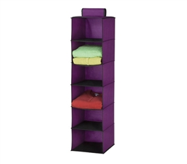 Purple 6 Shelf Hanging Clothing Organizer