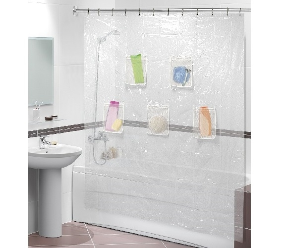 Clear Shower Curtain With Mesh Pockets Dorm Space Saver