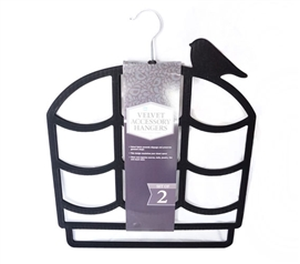 2 Pack Flocked Scarf Hanger - Birdcage Design - Black Dorm Essentials Dorm Organizers