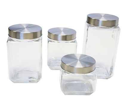 4 Piece Glass Canister Set with Stainless Steel Lids