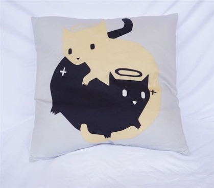 Dorm Bedding Cotton Throw Pillow Good Cat Bad Cat