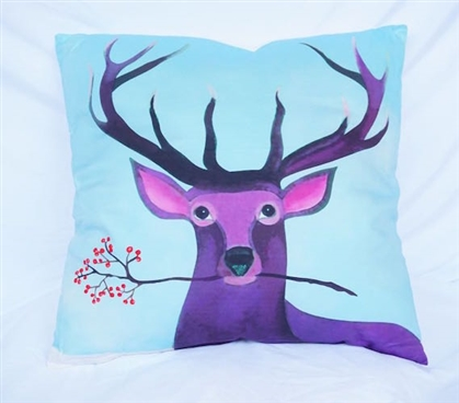 Deer Portrait Purple and Blue Cotton Throw Pillow Dorm Bedding