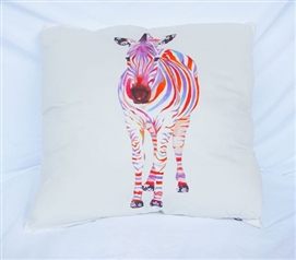 Zebra Portrait - Cotton Throw Pillow