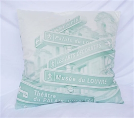 Green and White Streets of Paris Cotton Throw Pillow