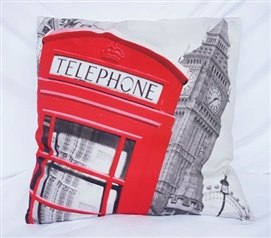Telephone Box - Cherry Red - Cotton Throw Pillow