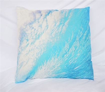 Twin XL Bedding Wave Foam Blue Cotton Throw Pillow