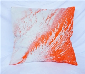 Wave Foam - Vermillion Orange - Cotton Throw Pillow