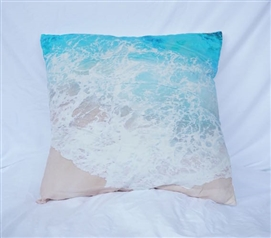 Aqua College Cotton Throw Pillow Beach Shores Dorm Decor