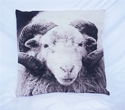 Dorm Decor Cotton Throw Ram Portrait Animal Pillow White and Gray
