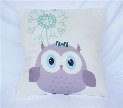 College Cotton Throw Pillow Adorable Owl Friend Decor