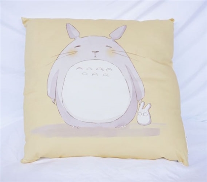 My Neighbor Totoro Yellow and Gray Dorm Decor Cotton Throw Pillow