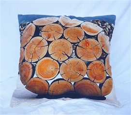Natural Tree Stump Pattern College Cotton Throw Pillow for Twin XL Bedding