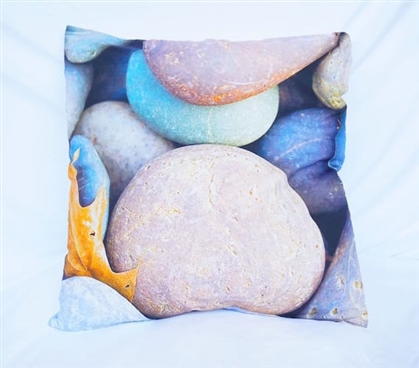 Colorful Rocks College Bedding and Dorm Decor Cotton Throw Pillow
