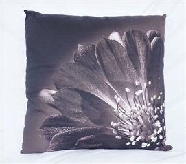 Blooming Flower Nature Decor Black College Cotton Throw Pillow