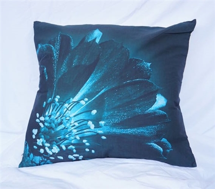 Twin XL Cotton Throw Pillow Ocean Depths Teal Blooming Flower Dorm Decor