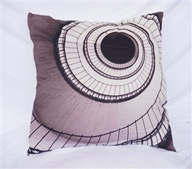 College Cotton Throw Pillow Gray Spiral Stairs Dorm Pillow