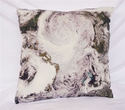 Dark Green College Cotton Throw Pillow View from Space Decor