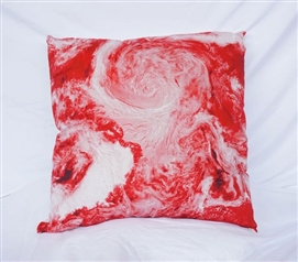 View From Space Cherry Red College Cotton Throw Pillow