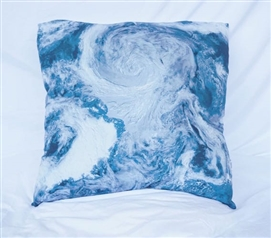College Cotton Throw Pillow View From Space Ocean Depths Teal Dorm Decor