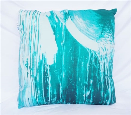 Dorm Decor College Cotton Throw Pillow Ocean Depths Teal Drip Paint