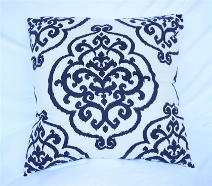 Fleur-de-lis Design College Cotton Throw Pillow Black Dorm Decor