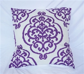 College Dorm Decor Cotton Throw Pillow Fleur-de-lis Purple Reign