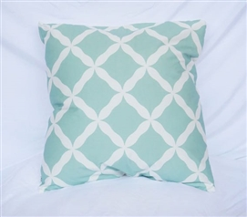 Calm Mint Twin XL Bedding Cotton Throw Pillow Quatrefoil Pattern