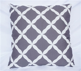 Dorm Decor Cotton Throw Pillow Pewter Quatrefoil Design