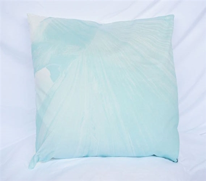 Dorm Decor Cotton Throw Pillow Mountaintop Design Bleached Aqua Pillow