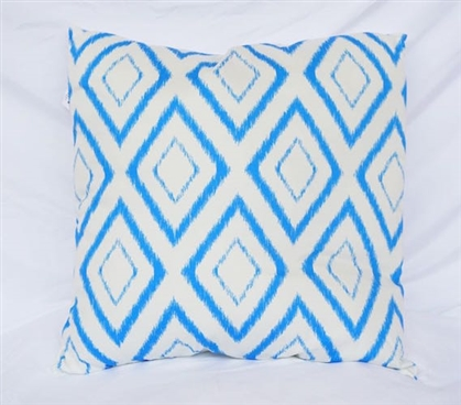 Dorm Decor Snorkel Blue Cotton Throw Pillow Blurred Diamond Decorative College Pillow